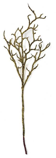 38 Inch Glittered Gold/Black Coral Twig Spray