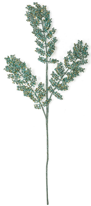 "29"" Glittered Aqua Fern Spray"
