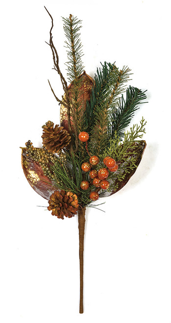 22 Inch Mixed Glittered Copper Leaves, Pine Cones, and Berries Pine Spray