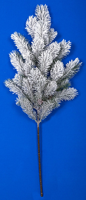 26 Inch Snowy Glittered Pine Spray with Pine Cones