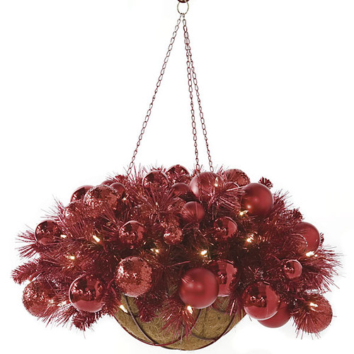 14 Inch x 27 Inch Hanging Red Tinsel and Ornament Basket with Lights