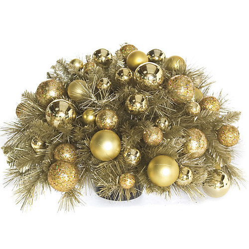 14 Inch x 27 Inch Gold Champagne Tinsel Centerpiece with Ornaments