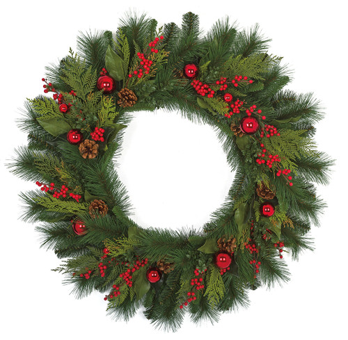 36 Inch Mixed Hampton Pine Wreath with Pine Cones Berries and Balls