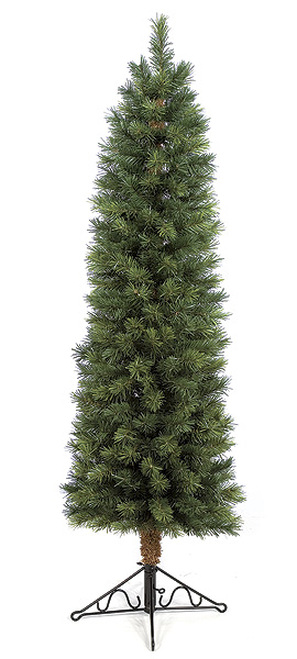 PVC Concord Pencil Pine Trees in 5 Ft or 7.5 Ft Tall with Clear Lights or No Lights