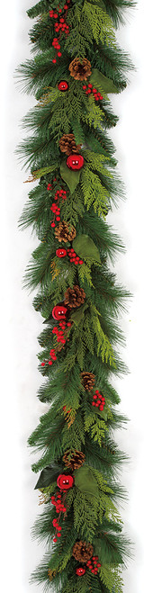 6 Foot Mixed Hampton Pine Garland with Pine Cones Berries and Balls