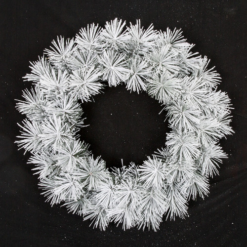 30 Inch Unlit Flocked Long Needle Pine Wreath