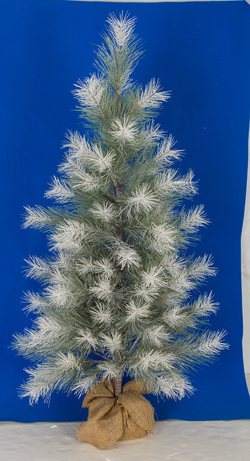 3 Ft. or 4 Ft. Frosted/Glittered Pine Tree with Burlap Base