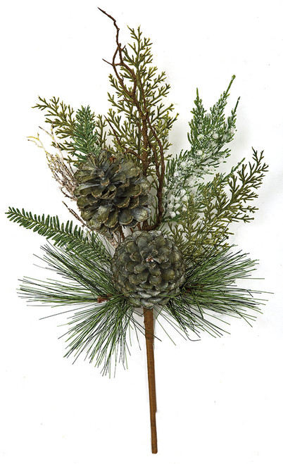 18 Inch Glittered Mixed Cypress/Pine Spray with Twigs & Pine Cones