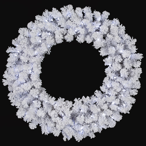 36 Inch Flocked Arctic Pine Wreath with Winter White LED Lights