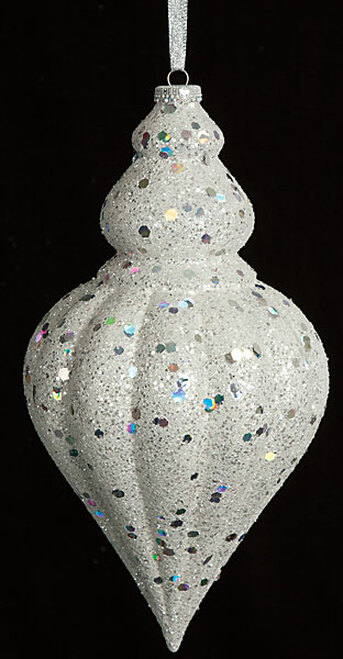 "J-130733 12"" x 6"" Glittered White and Silver Finial"