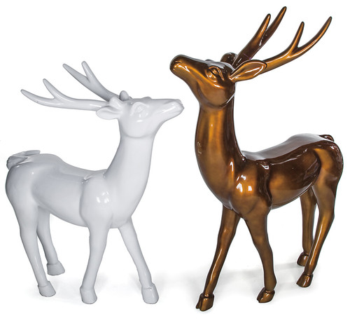 4 Ft. or 5 Ft. Standing Reindeer in Gloss White or Gloss Brown/Gold