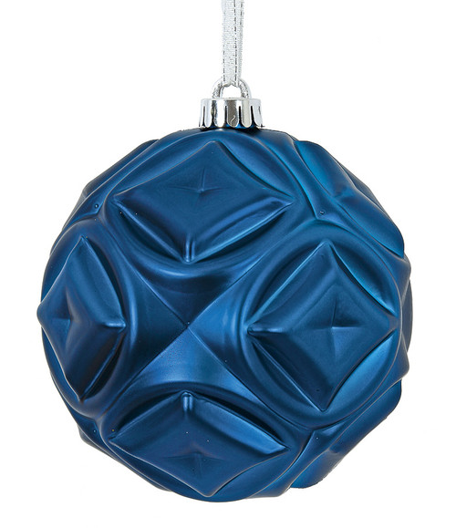 6 Inch Matte Blue Diamond Pattern Ball Ornament