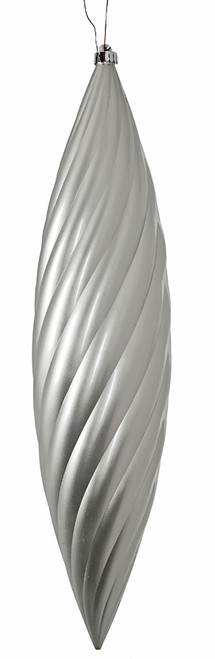 23.5 Inch Pearl Gloss Silver UV Ribbed Final Ornament