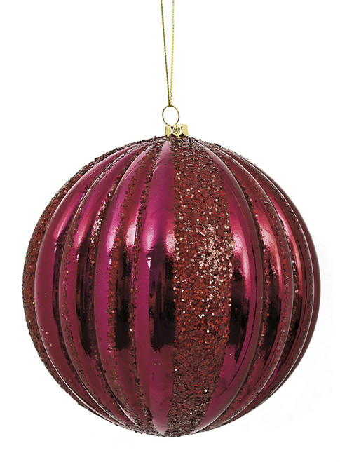 6 Inch Shiny Ribbed Burgundy Ball Ornament with Glitter