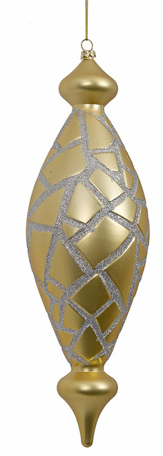 11.5 Inch Matte Gold Mosaic Finial with Silver  Glitter
