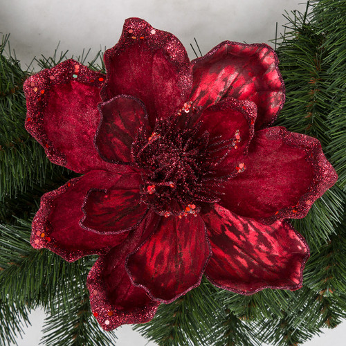 7 Inch Burgundy Magnolia Flower Clip on Ornament