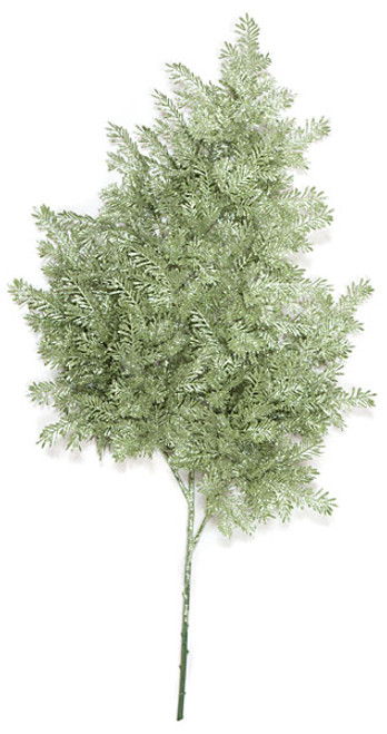 32 Inch Glittered Hemlock Spray - Silver/Green