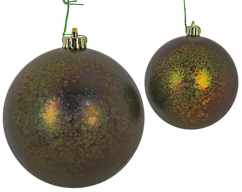 4 Inch Antique Ball Ornament in Matte Dark Green