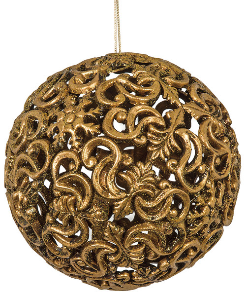 6 Inch Metallic Filigree Antique Gold or Silver Ball Ornament