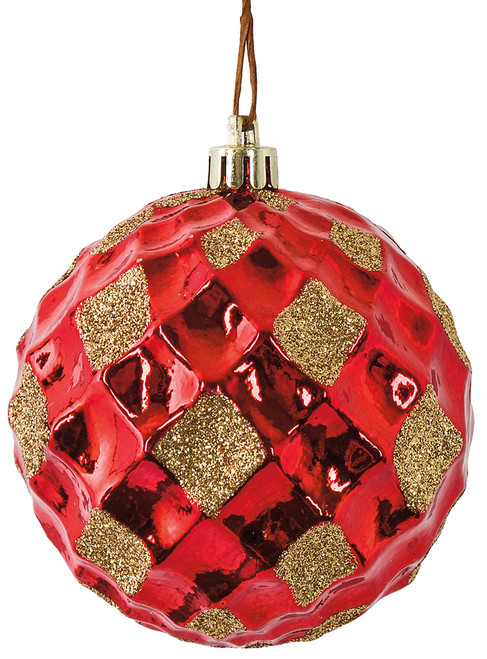 3 Inch Reflective Red Grid Ball Ornament with Gold Glitter