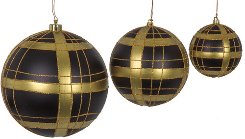 8 Inch Matte Black and Gold Plaid Ball Ornament with Glitter
