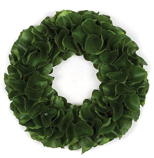 20 Inch Artificial Green Leaf Wreath with Hard Foam Base