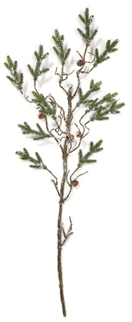 54 Inch Plastic Pine Twig with Light Snow and Pine Cones