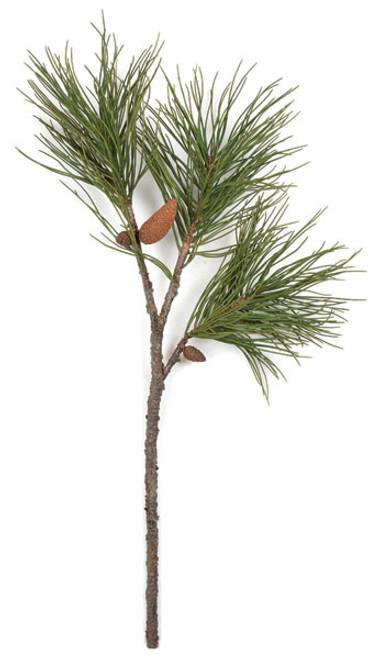 38 Inch Plastic Pine Spray Pine Cone Green