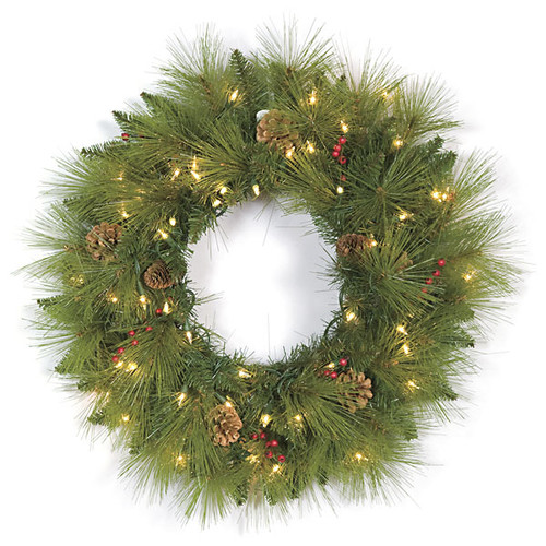 24 Inch Mixed Pine Wreath 