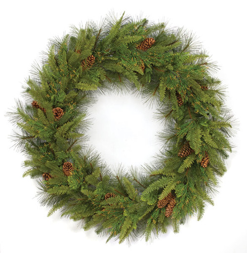 "60"" Mixed Pine Fold-A-Way WreathPE/PVC TipsPine/Cones/Juniper/Ferns"