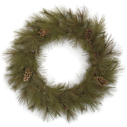 36 Inch Harvest Wreath with Pine Cones - Green/Brown