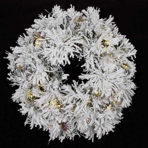"34"" Heavy Flocked Long Needlewith Warm White LED Lights"