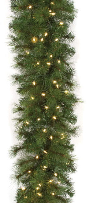 """C-1405849' x 16"""" Mika Pine Garland with LED Lights"""