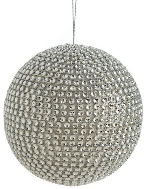 "3.5"" Beaded Ball OrnamentSilver"