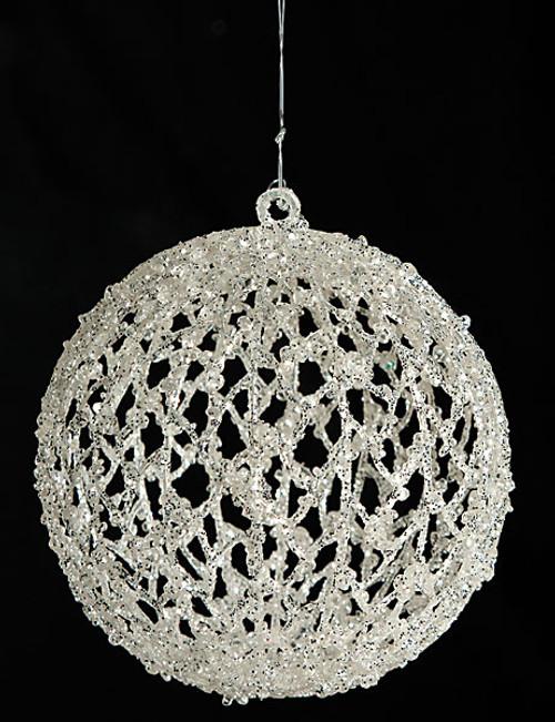 J-1205005.5 Inch Glittered BallWhite/Silver