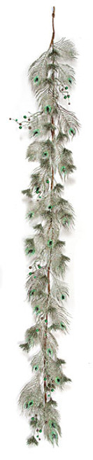 6 Foot Glittered Feather Garland - Green/Brown