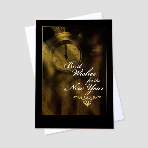 Business new year greeting cards ceo cards business new year greeting card with an old clock and new year message surrounded by a m4hsunfo