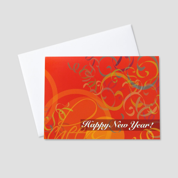 Business new year greeting cards ceo cards business new year greeting card featuring an orange background and falling colorful confetti with a new reheart Gallery