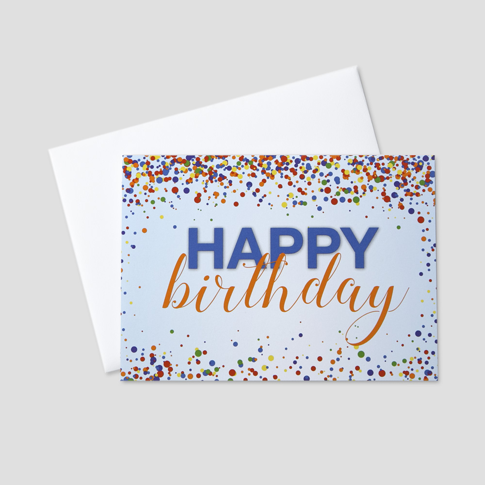 Business Birthday greeting card featuring colorful confetti surrounding a birthday message on a blue background
