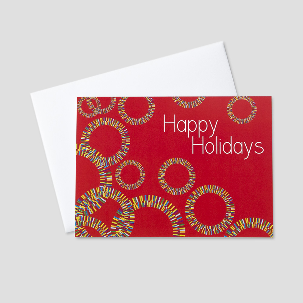 Employee holiday greeting cards ceo cards festive holiday greeting card with an image of colorful circles and happy holidays message kristyandbryce Gallery