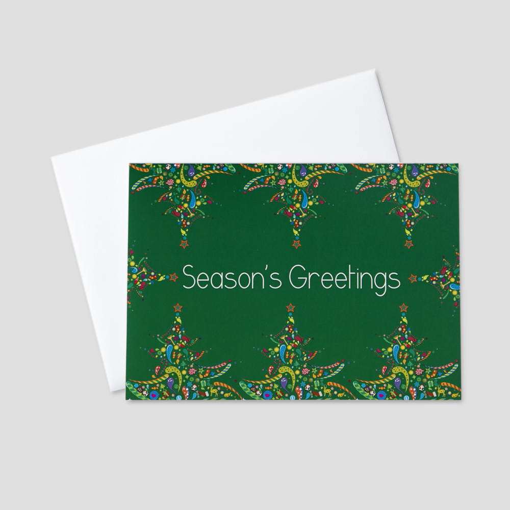 Professional holiday greeting cards ceo cards festive holiday greeting card with a seasons greetings message surrounded by colorful holiday trees m4hsunfo