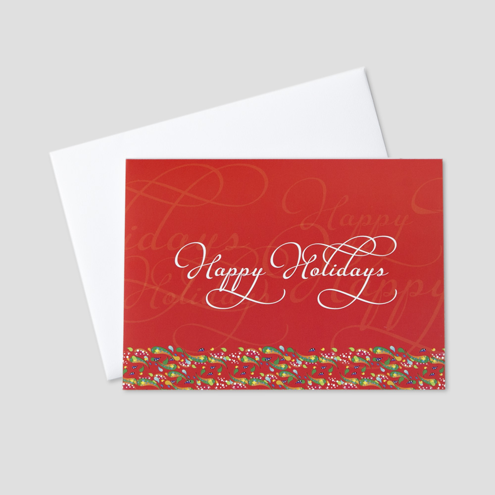Personalized holiday greeting cards ceo cards holiday greeting card with a red background and overlapping happy holidays message bordered by colorful confetti m4hsunfo