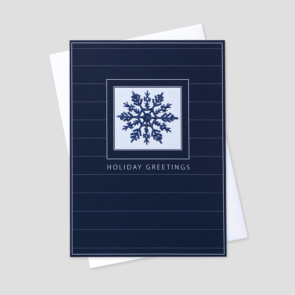 Wintery holiday greeting cards ceo cards client holiday greeting card with an image of a navy snowflake inside a blue border and m4hsunfo