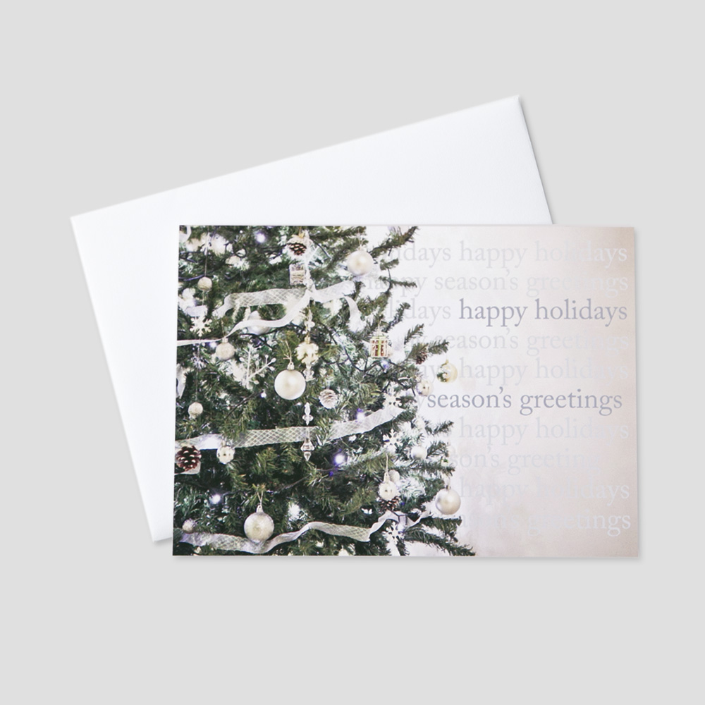 Corporate holiday greeting cards ceo cards client holiday greeting card with an image of a decorated christmas tree and multiple holiday messages m4hsunfo