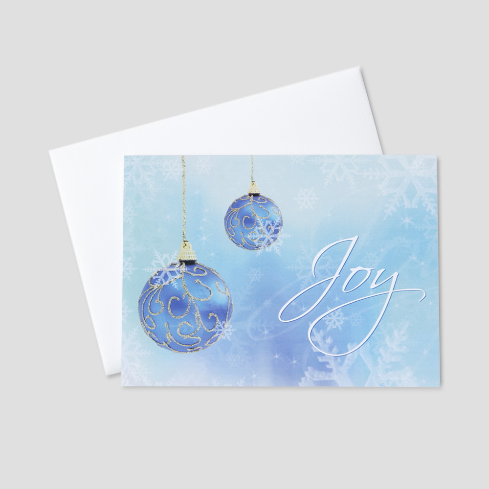 Professional christmas greetings ceo cards festive holiday greeting card with joy in golden script surrounded by blue ornaments and snowflakes m4hsunfo