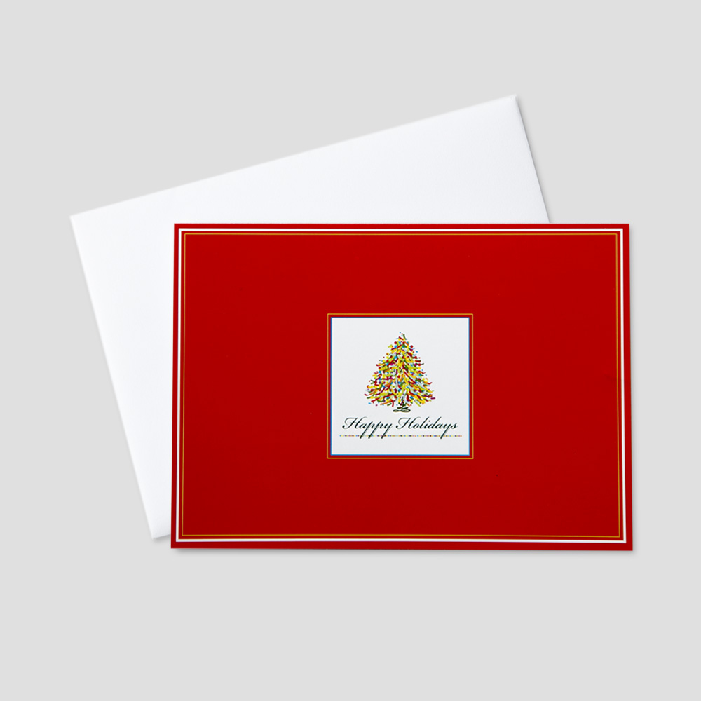 employee holiday greeting card with a red and white border and a colorful christmas tree in - Artistic Holiday Cards