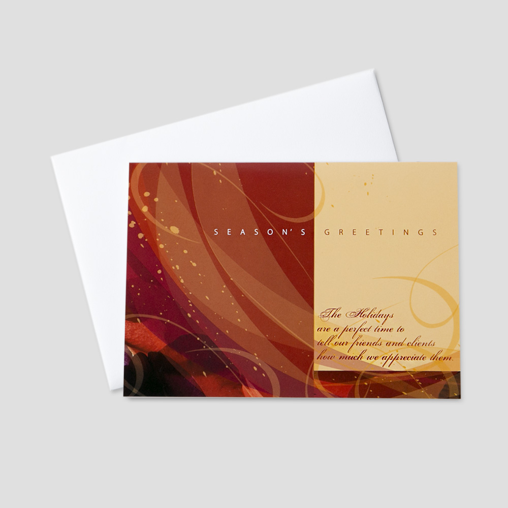 Colorful holiday greeting cards ceo cards company holiday greeting card with red and gold swirls on a cream background with a seasons kristyandbryce Image collections