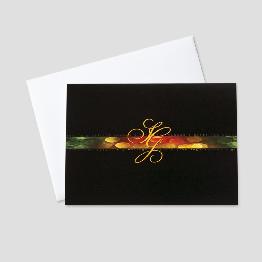 Corporate holiday greeting cards ceo cards professional holiday greeting card with sg script letters for seasons greetings on a black background m4hsunfo