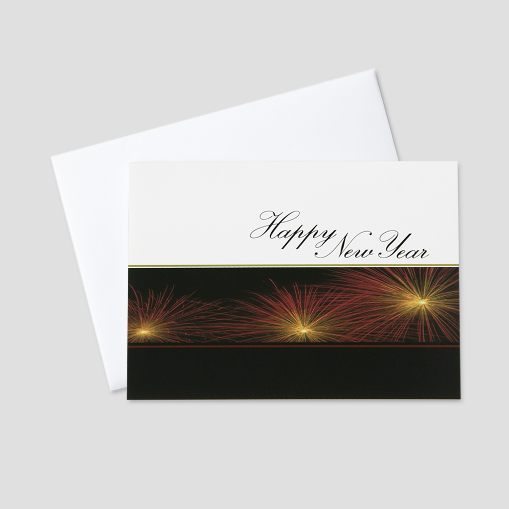 Professional New Year greeting card with three fireworks bursts on a white and black background