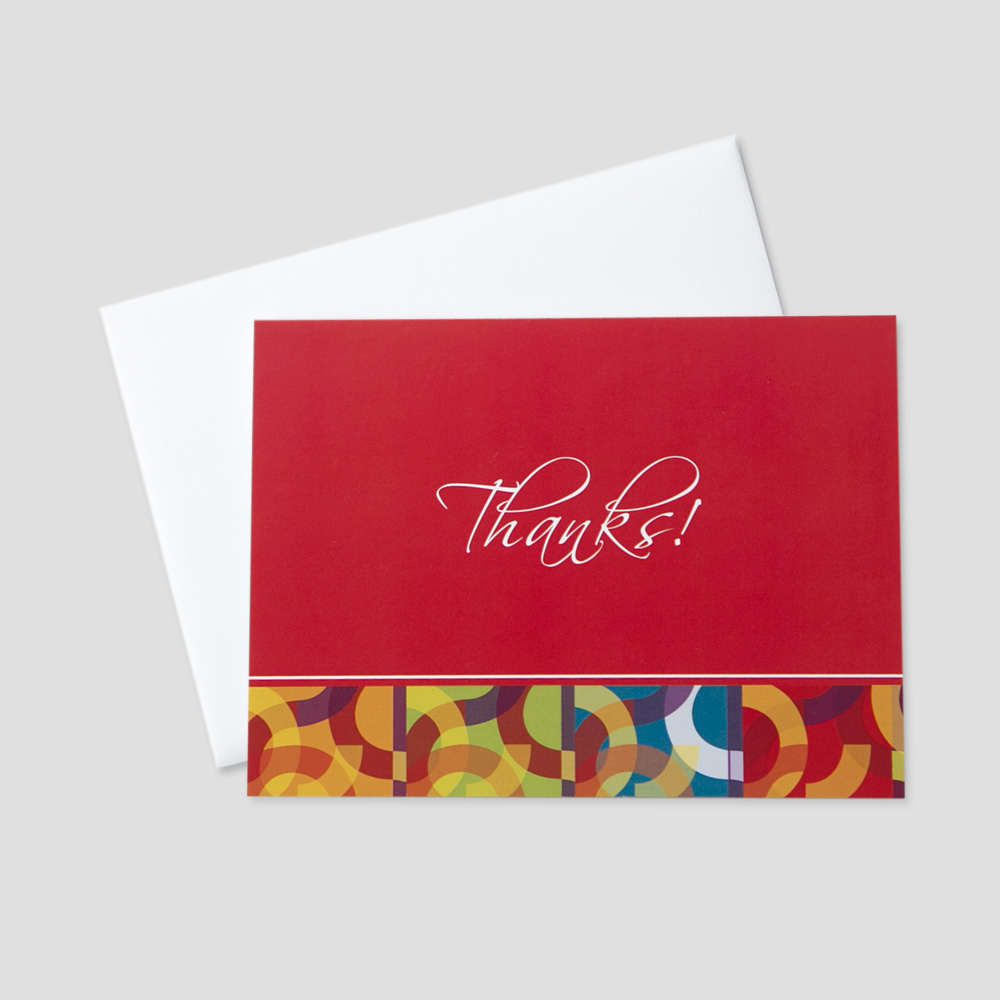 Thank you business greeting card ceo cards business thank you greeting card featuring colorful and graphic circle designs and a message of thanks m4hsunfo